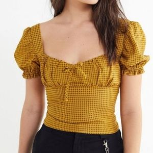 UO Cassia Puff Sleeve Cropped Top Mustard Plaid
